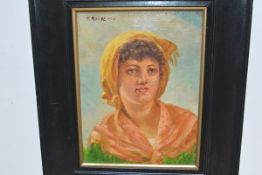 """Continental School, 19th Century, A Peasant Girl, signed """"F. Rouge"""" and dated (18)94, oil on canvas,"""
