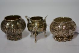 A group of three Chinese silver salts, one of cauldron form, Wang Hing, one panelled decorated