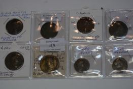Eight early Roman coins, two Claudius, four Neor, one Agrippa, One Nerva, mostly sestertii,