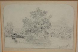 """Attributed to Joseph John Cotman (1814-78), """"On The Broads"""", pencil on paper, bearing initials and"""