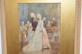 At the Ball, watercolour, c. 1900, unsigned, in a gilt-composition frame. 22cm by 17cm