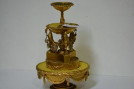 A late 19th century giltwood, card and papier mache tiered table stand, by repute from the Palace of