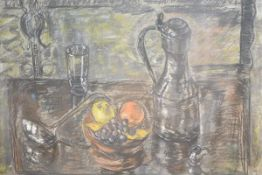 Jean Ford (Scottish, 20th Century), Still Life of Fruit and Tankard, signed lower right, pastel,