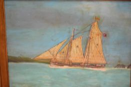 British Naive School, c. 1900, The Pilot Schooner Ada, inscribed and signed with initials JAK, oil
