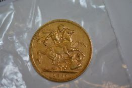 A Victorian full sovereign, 1884
