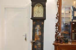 A Channel Islands George III lacquered longcase clock, the signed painted dial with moon phase