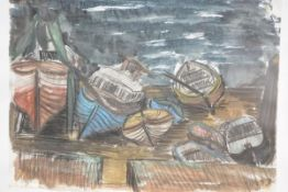 Mary Ford (Scottish, 20th Century), Beached Boats, signed lower right, watercolour, framed. 38cm