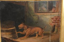 """Manner of George Morland (British 1762-1804), """"The Bull Terrier"""", oil on panel, attributed and named"""