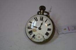 A late 19th century brass-mounted bullseye desk clock (losses, damage to dial and glass).