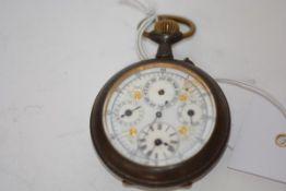 A late 19th century gun-metal cased calendar pocket watch, probably Swiss, the white enamel dial