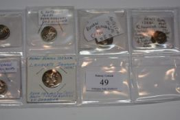Six Roman Republic coins, approx. 250BC to 80BC, all denarius coins, all in Fine and Very Fine