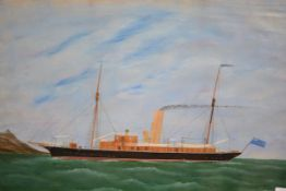"""British Naive School, The Fishery Cruiser Minna, oil, bearing a paper verso """"painted by Geo. G."""