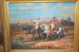 20th Century School, Arab Horsemen, a large Orientalist oil on canvas, signed David Smith, in a