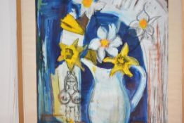 """Mary Ford (Scottish, 20th century), """"Small Warrior with Flowers"""", mixed media, bearing Royal"""
