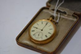 An 18ct gold open face pocket watch, c. 1900, the white enamel dial with Roman numerals and