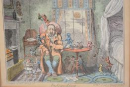 """After George Cruikshank, """"Jealousy"""" and """"Indigestion"""", a pair of coloured engravings, each published"""
