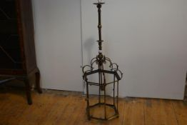 A good 19th century gilt-brass hanging hall lantern, of hexagonal form, with columnar uprights