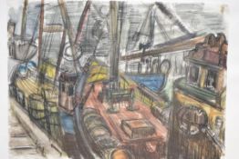 Mary Ford (Scottish, 20th Century), Fishing Boats, signed lower right, pastel, framed. 37cm by 50cm