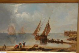 """Attributed to John """"Jock"""" Wilson H.R.S.A. (Scottish, 1774-1855), Coastal Shipping with Figures on"""