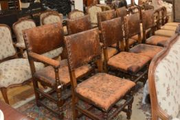 A set of eight oak dining chairs in the Cromwellian taste, early 20th century, each with leather-
