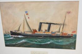 """British Naive School, early 20th Century, """"S.S. Avon, Grangemouth"""", signed with a monogram and dated"""