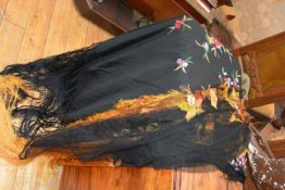 Two vintage evening shawls, c. 1930, in black, one silk embroidered with floral sprays with black