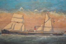 "British Naive School, 19th Century, ""Garnet"", the sail steamship at full sail, indistinctly signed"