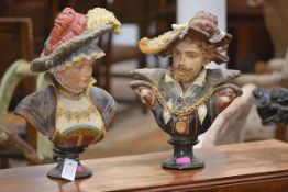 A pair of late 19th century Continental pottery busts, probably Austrian, of a lady and gentleman,