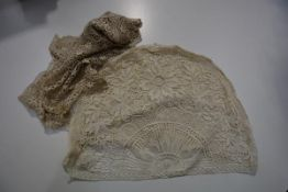 A Maltese lace scarf, probably late 19th century, together with a lace cosy cover, c. 1900. (2)
