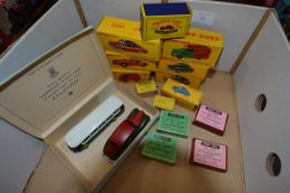 A group of Dinky model vehicles, mostly boxed including French made examples Taxi Ariane Simca,