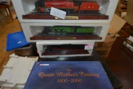 Three model locomotives, including the Flying Scotsman together with a Corgi commemorative model