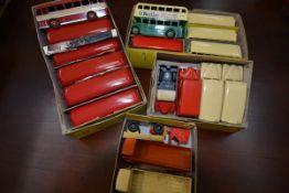 A group of Dinky boxed model vehicles: 6 Double Deck Bus 29C; 2 Daimler Ambulance 30H together