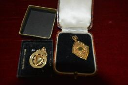 Two 9ct gold sporting medals, one cased, the other in a cardboard box, hallmarked for Birmingham