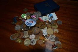 A mixed group of GB and World coins, school medals etc
