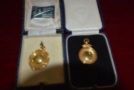 Two 9ct gold sporting medals, cased, one by W.J. Blair, Jedburgh, hallmarked for Birmingham 1936 abd