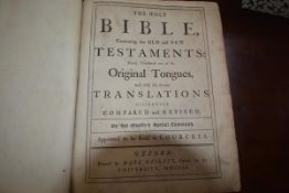 BASKETT, Thomas. An 18thc Holy Bible (1762) containing Old and New Testaments, printed by Thomas