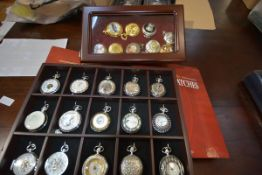 A collection of Atlas Heritage reproduction pocket watches, with boxes and in display cases together