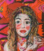 Elke Krystufek Wien 1970 geb. Selbstporträt Öl auf Baumwollstoff 70 x 60 cm Provenienz: