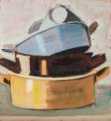 Johanna Kandl Wien 1954 geb. Ohne Titel (Töpfe) Öl auf Leinwand (ohne Keilrahmen) 58,8 x 54,7 cm