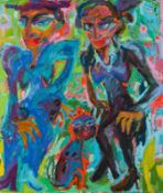 Saša Makarová * Kosice 1966 geb. In bester Gesellschaft Öl auf Leinwand 129,5 x 110 cm frühe