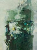 Traudel Pichler * Mülheim/Ruhr 1941 - 2002 Wien Stillleben Öl auf grüner Leinwand 120 x 90 cm