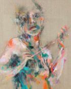 Lucia Riccelli Rom 1970 geb. Border Line Öl und Acryl auf Leinen 100 x 80 cm 2016 rückseitig am