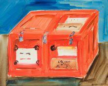 Brigitte Bruckner-Mikl Linz 1963 geb. Rote Kiste II Öl auf Leinwand 80 x 100 cm 1997 rechts unten