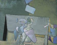 Fritz Fröhlich Linz 1910 - 2001 Linz Fröhliche Bedrängnis Öl auf Leinwand 48 x 60 cm 1984 links