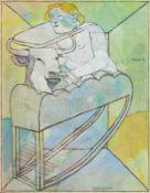 Peter Sengl Unterbergla 1945 geb. Kinderschaukel des Stierbesitzers Mischtechnik auf Hartfaserplatte