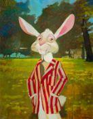 Erich Sokol * Wien 1933 - 2003 Mödling Hase Acryl auf Hartfaserplatte ca. 140 x 110 cm rechts