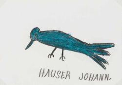Johann Hauser Bratislava 1926 - 1996 Gugging Rabe Bleistift und Buntstift auf Papier 10,5 x 14,5
