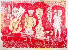 Mario Dalpra * Feldkirch 1960 geb. Boatpeople Öl auf Leinwand 200 x 270 cm 2007 rückseitig