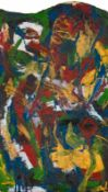 Gunter Damisch Steyr 1958 - 2016 Wien Ohne Titel Öl auf Karton 59,5 x 34 cm 1981-1983 rückseitig