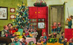 Manfred Deix St. Pölten 1949 - 2016 Klosterneuburg Weihnachten 77 Mischtechnik auf Papier 30,5 x